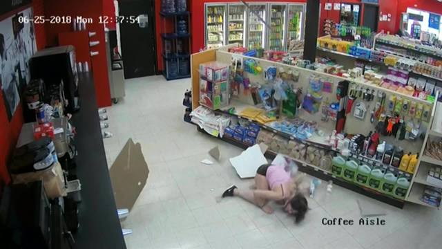 VIDEO: Woman falls through ceiling in attempt to escape police during convenience store scuffle
