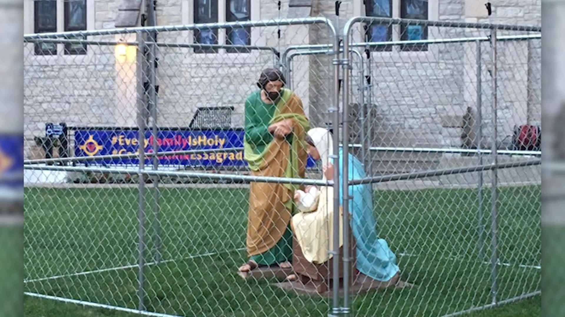Church fences in Jesus, Mary, Joseph to protest immigration policy