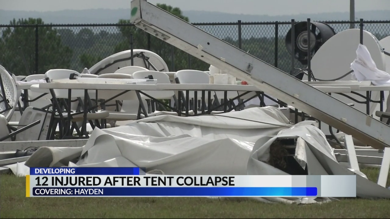 12 injured after tent collapse