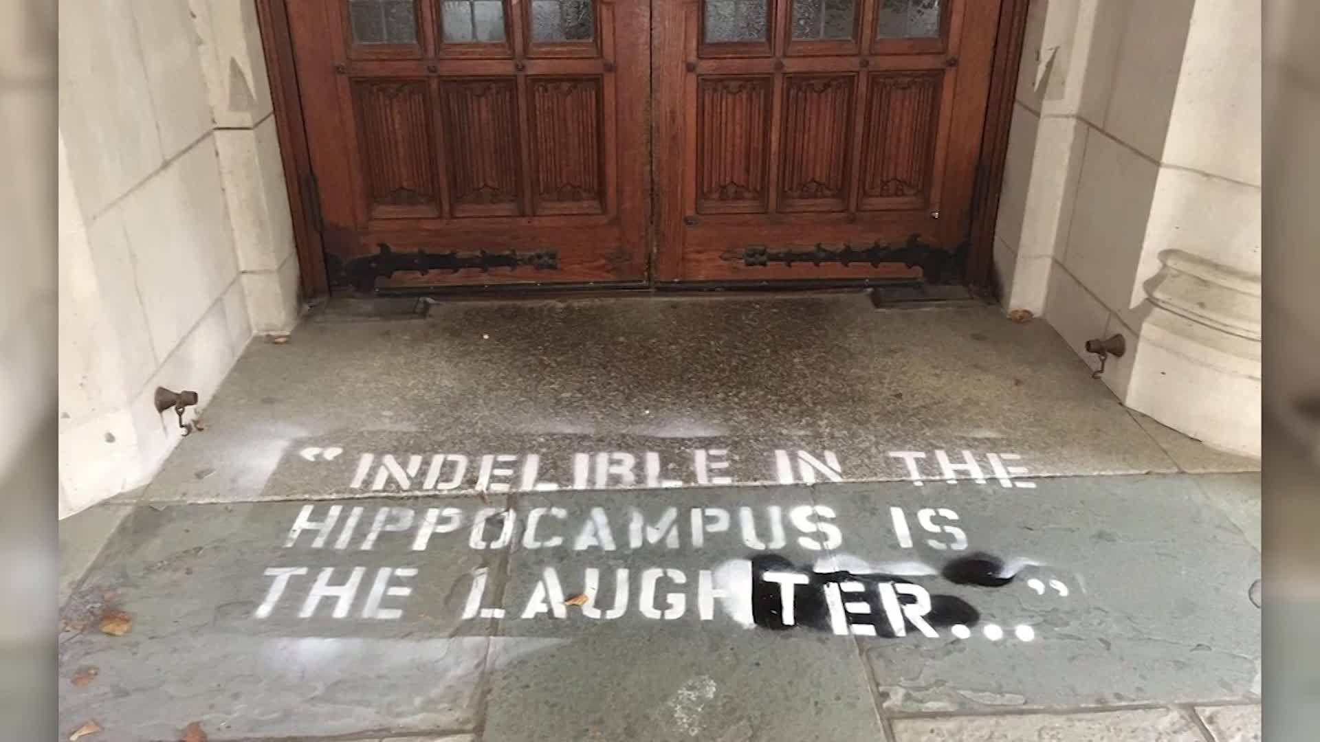Ford's testimony quote spray painted on Yale Campus