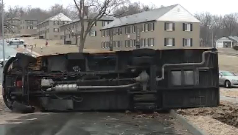 Video: School bus flips on surveillance video