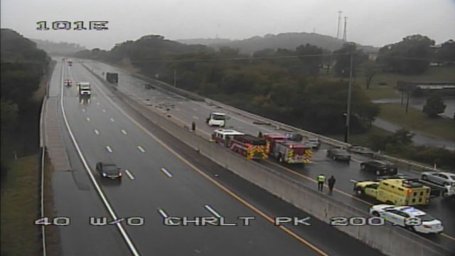 Crash slows traffic on I-40 West at Charlotte Pike