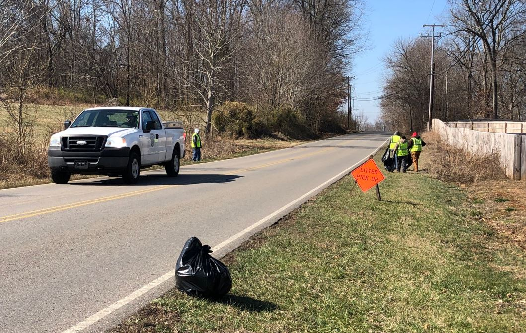 Clarksville Street Department crews pick up litter