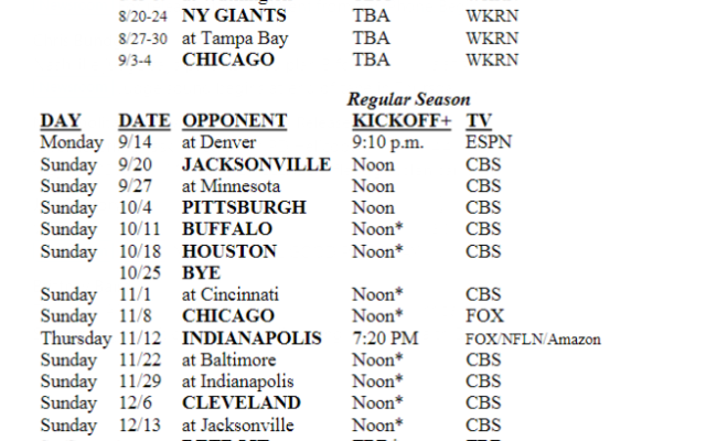 Tennessee Titans Release 2020 Schedule Preseason Games To