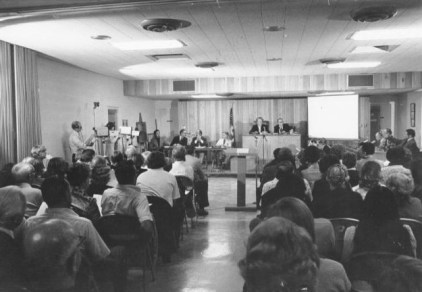 Full size studio cameras were used to cover the first Wyoming City Council meeting in 1975.
