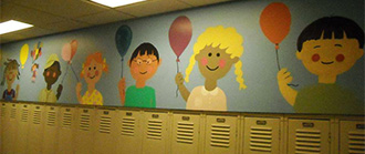 A mural at Hamilton Early Childhood Center smiles at students thanks to NAHS members.