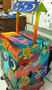 Club members created a wishing well for the Kentwood Public Library.