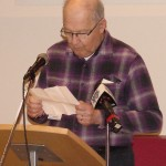 Dan Kotrch, president of the Wyoming Senior Fellowship Club, speaks at open house.