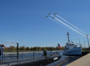 A fly-by of World War II-era War Birds started the ceremony.