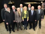 Recipients of the Purdue Agricultural Alumni Association's 2013 Certificate of Distinction are, from left, Tom McKinney, Levi Huffman, Dick Reel, Wayne Emigh, Jim Hicks, Becky Skillman, Leon Crowe, Lynn Martin and John Butts. Fayte Brewer received the award posthumously. (Purdue Agricultural Communication photo/Tom Campbell)