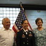 Julie Simoni (middle) was promoted in 2011 to lieutenant colonel.