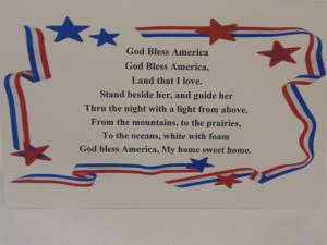 """Everyone had the chance to sing """"God Bless America"""" at the end of the breakfast"""
