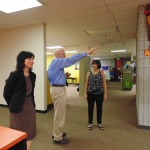 Superintendent Dr. Robert Klitzman and Elementary School Principal Jill Collins directs Mrs. Pence through the elementary school, which achieved four-star status this year.