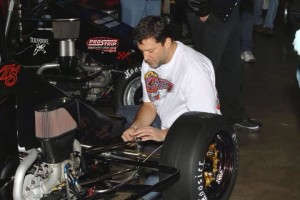 Tony Stewart gets his car ready to compete in The Rumble in Fort Wayne in 2011