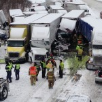 State police say three people were killed and 20 were injured in this 40 vehicle pile-up near Michigan City Thursday afternoon.