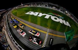Austin Dillon, driver of the #3 DOW Chevrolet, and Greg Biffle, driver of the #16 3M Ford, lead the field to the green flag to start the NASCAR Sprint Cup Series Budweiser Duel 1 at Daytona International Speedway on February 20, 2014 in Daytona Beach, Florida. Photo by Getty Images