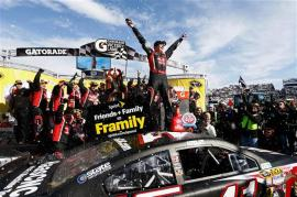 Kurt Busch, driver of the #41 Haas Automation Chevrolet, celebrates in Victory Lane after winning the NASCAR Sprint Cup Series STP 500 at Martinsville Speedway on March 30, 2014 in Martinsville, Virginia. Photo by Jeff Zelevansky/Getty Images