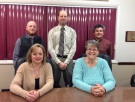 Oregon-Davis School Board members (seated) Andrea McIntosh, Shirley Budka.  (standing) Christopher Lawrence, Kurt Hayes, Lee Nagai
