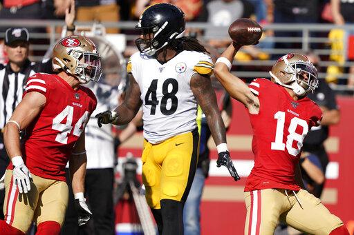 buy popular 3de72 0e5b8 Sloppy 49ers beat Steelers 24-20 on late Garoppolo TD pass ...