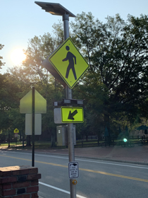 One of the new crosswalk beacons on Jamestown Road (Courtesy photo)