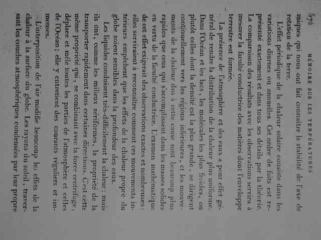 Fourier 1827: MEMOIRE sur les temperatures du globe