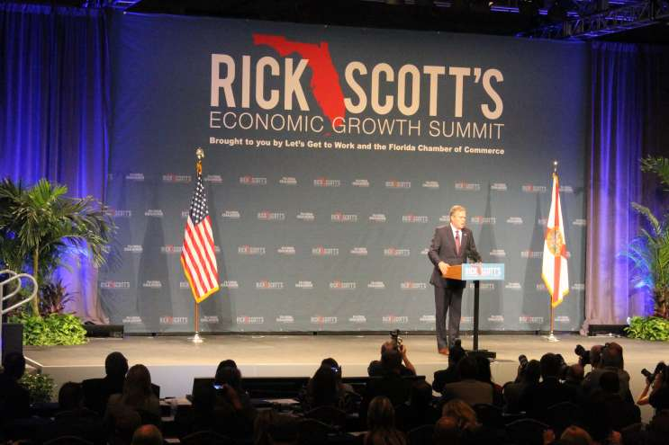 Jeb Bush wowed the crowd at Rick Scott's Economic Summit in Orlando in June- but his poll numbers have slumped since then. Photo: Matthew Peddie, WMFE