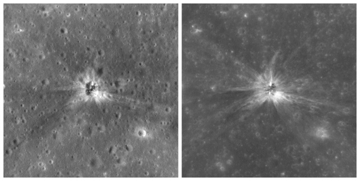 Images of the Apollo 16 booster crash site on the surface of the moon. Photo: NASA