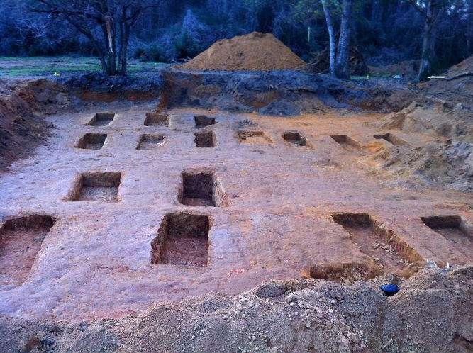 Empty burial sites on Dozier School grounds after USF researchers excavated 51 individual sets of remains in 2013. Photo: USF Dept of Anthropology