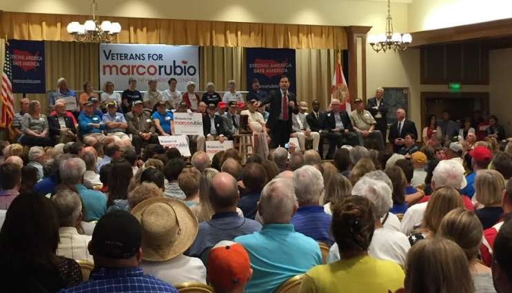Hundreds packed a crowded auditorium at The Villages in Sumter County. Republican presidential candidate and Florida native is hoping to court voters there ahead of Tuesday's GOP primary. Photo: Renata Sago.