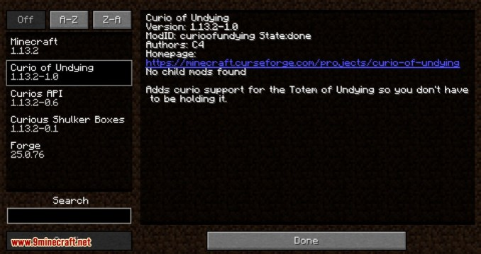 Curio of Undying mod for minecraft 01
