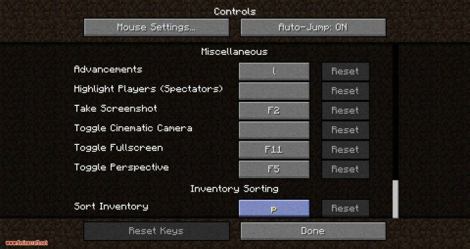 Inventory Sorting mod for minecraft 01