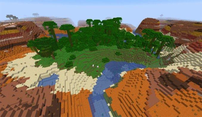 Mesa Biome Surrounding a Jungle Seed