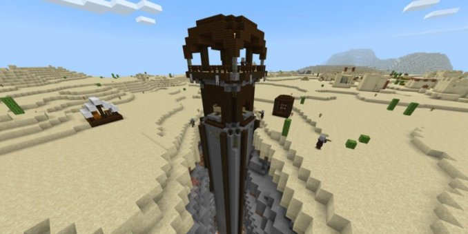 Desert Village w/Pillager Outpost in a Ravine (Bedrock - 1.14.6)