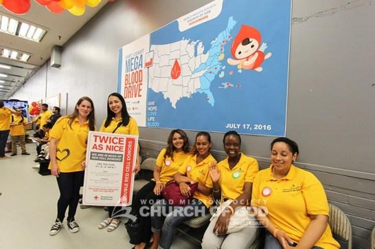 east coast mega blood drive 2016, world mission society church of god, ridgewood, yellow shirt, volunteer
