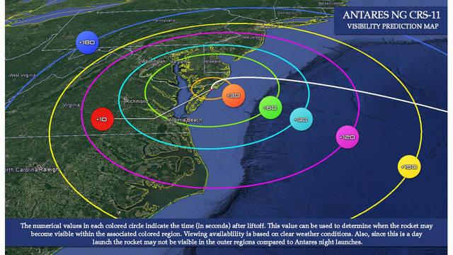NASA Antares Rocket Launch Visibility Map