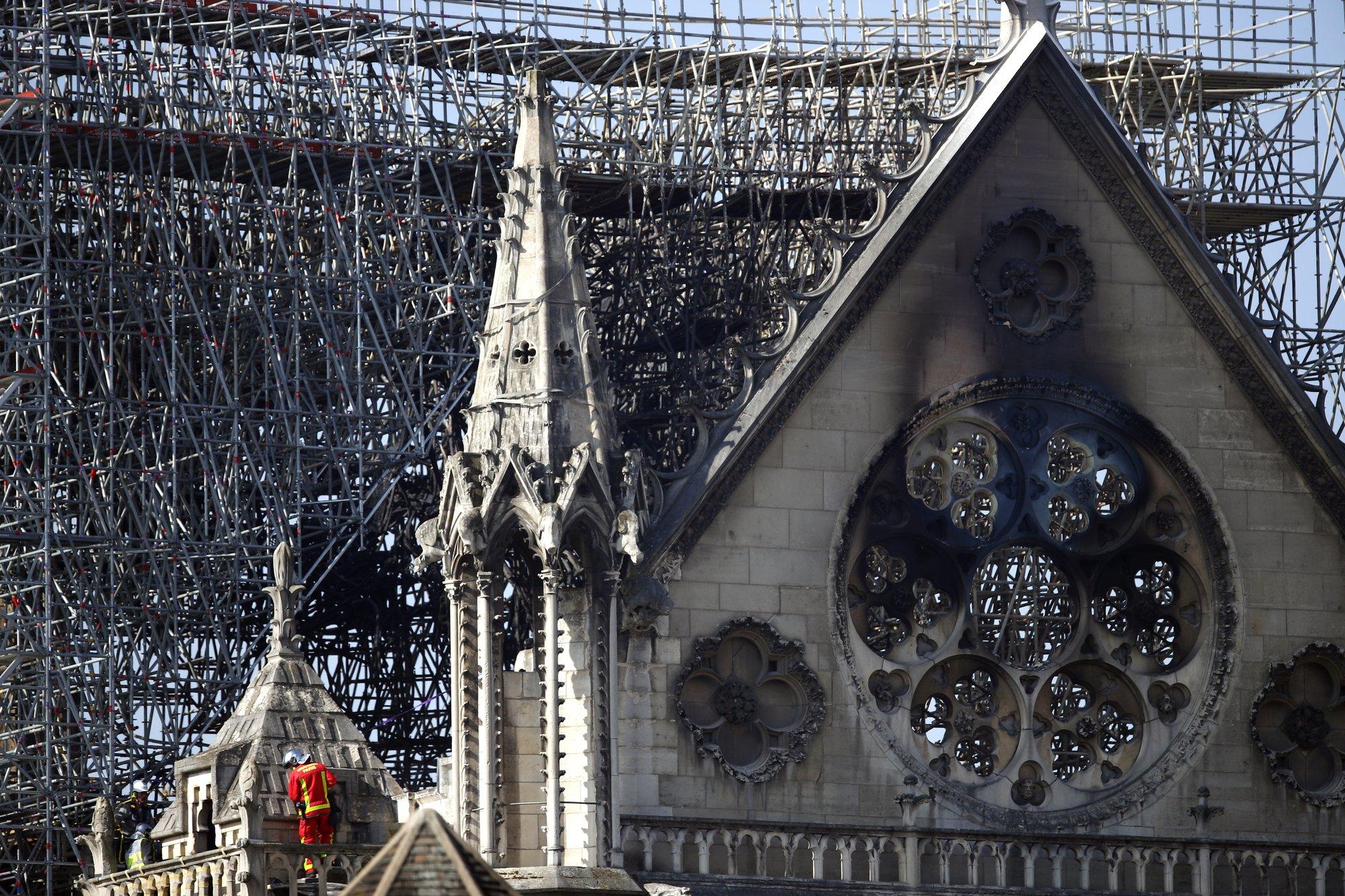 Notre Dame Cathedral Burned Corner