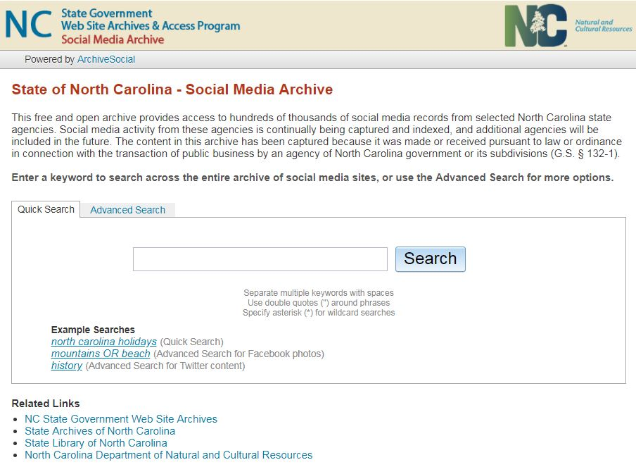 NC Social Media Archive Website