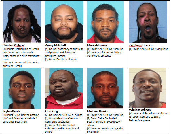 15 of 21 people arrested on drug, violent crime charges as part of