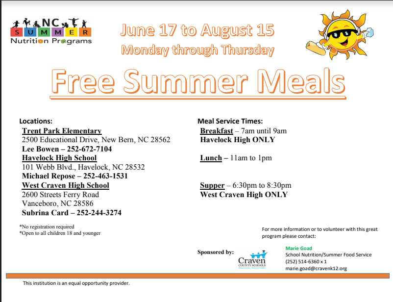 Craven Co. 2019 Summer Meal Program Details