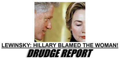 Image result for The Drudge Report breaks the Clinton-Lewinsky scandal