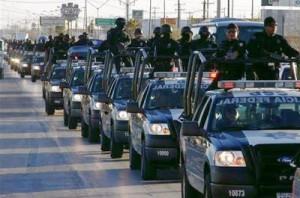 Police caravan in Ciudad Juraez, Mexico