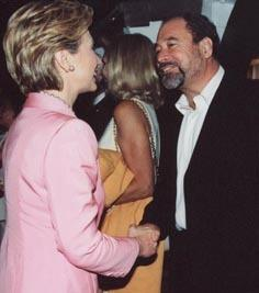 Hillary Clinton greets Peter Paul at Hollywood gala in August 2000 (Courtesy Peter F. Paul)