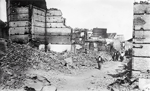 A street in the Armenian quarter of Adana left pillaged and destroyed after massacres in 1909