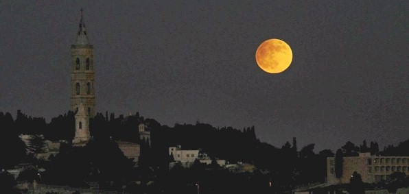 Full moon over Jerusalem, Israel