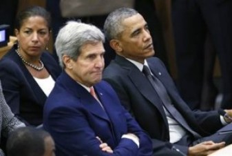 Former National Security Adviser Susan RIce, former Secretary of State John Kerry and former President Barack Obama