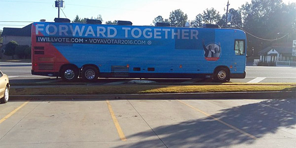 "Hillary's ""Forward Together"" bus went through Lawrenceville, Georgia, and appeared to be illegally dumping human waste (Credit: Mike Robins)"