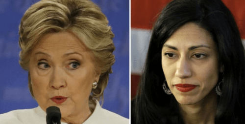 Hillary Clinton with top aide Huma Abedin.