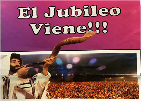 "The poster that appeared throughout Cuba: Jonathan Cahn sounding the Jubilee Trumpet and the prophetic words ""The Jubilee is Coming"""