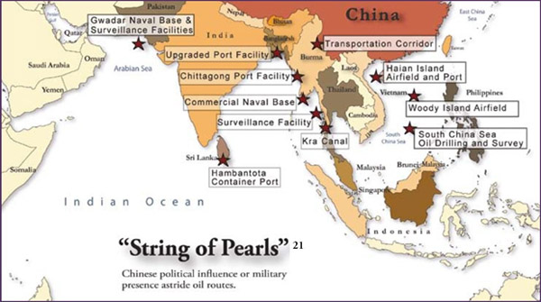"A look at China's ""String of Pearls"" – which does not include Djibouti or Sudan"