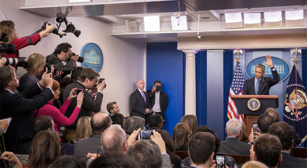 President Obama waves to the press at the end of his final Whit House press conference on Jan. 18, 2017 (Photo: Twitter/Stephen Crowley)